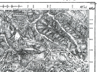 Reduced fragment of topographic map pl--wig--100k--P55S39--(1921)--N048-30_E024-20--N048-15_E024-50; towns and cities Yaremcha, Yasinya, Kosmach, Vorokhta, Banya-berezov
