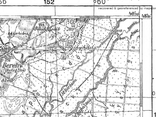 Reduced fragment of topographic map pl--wig--100k--P56S35--(1938)--N048-15_E022-20--N048-00_E022-50; towns and cities Beregovo, Beregi, Bodolov, Dedovo