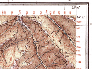 Reduced fragment of topographic map pl--wig--100k--P57S40--(1934)--N048-00_E024-50--N047-45_E025-20; towns and cities Grinyava, Putila, Selyatin