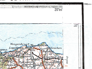 Reduced fragment of topographic map pl--wig--300k--34--(1934)--N055-00_E018-20--N054-00_E020-20 in area of Zatoka Gdanksa; towns and cities Gdansk, Gdynia, Elblag, Sopot, Tczew