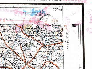 Reduced fragment of topographic map pl--wig--300k--35--(1934)--N055-00_E020-20--N054-00_E022-20 in area of Jezioro Mamry; towns and cities Kaliningrad, Gusev, Ketrzyn, Chernyakhovsk, Lidzbark Warminski
