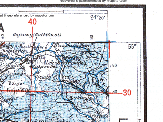 Reduced fragment of topographic map pl--wig--300k--36--(1942)--N055-00_E022-20--N054-00_E024-20; towns and cities Kaunas, Alitus, Suwalki, Kapsukas, Olecko