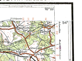 Reduced fragment of topographic map pl--wig--300k--42--(1938)--N054-00_E014-20--N053-00_E016-20; towns and cities Szczecin, Stargard Szczecinski, Police, Choszczno, Gryfino