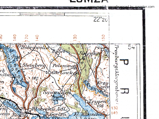 Reduced fragment of topographic map pl--wig--300k--45--(1932)--N054-00_E020-20--N053-00_E022-20 in area of Jezioro Sniardwy; towns and cities Olsztyn, Biala Piska, Mlawa, Szczytno, Przasnysz