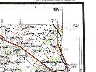 Reduced fragment of topographic map pl--wig--300k--49--(1934)--N054-00_E028-20--N053-00_E030-20; towns and cities Bobruysk, Osipovichi, Rogachev, Bykhov, Cherven'
