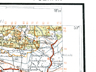 Reduced fragment of topographic map pl--wig--300k--53--(1935)--N053-00_E016-20--N052-00_E018-20; towns and cities Poznan, Inowroclaw, Gniezno, Konin, Lubon