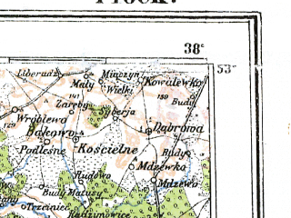 Reduced fragment of topographic map pl--wig--300k--54--(1922)--N053-00_E018-20--N052-00_E020-20; towns and cities Wloclawek, Plock, Turek, Kutno, Sochaczew