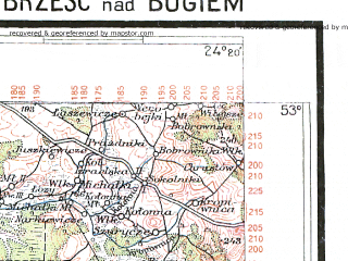 Reduced fragment of topographic map pl--wig--300k--56--(1937)--N053-00_E022-20--N052-00_E024-20; towns and cities Bielsk Podlaski, Brest, Biala Podlaska, Hajnowka, Lapy