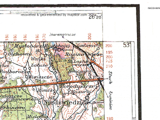 Reduced fragment of topographic map pl--wig--300k--57--(1933)--N053-00_E024-20--N052-00_E026-20; towns and cities Pinsk, Kobrin, Pruzhany, Bereza, Ivatsevichi