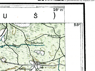 Reduced fragment of topographic map pl--wig--300k--58--(1928)--N053-00_E026-20--N052-00_E028-20; towns and cities Soligorsk, Zhitkovichi, Luninets, David-gorodok, Starobin