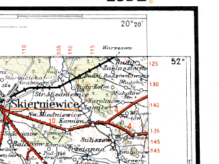 Reduced fragment of topographic map pl--wig--300k--64--(1936)--N052-00_E018-20--N051-00_E020-20; towns and cities Lodz, Pabianice, Piotrkow Trybunalski, Zgierz, Ozorkow