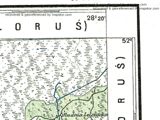 Reduced fragment of topographic map pl--wig--300k--68--(1928)--N052-00_E026-20--N051-00_E028-20; towns and cities Sarny, Dubrovitsa, Stolin, Olevsk, Kishin