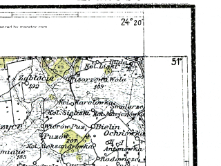 Reduced fragment of topographic map pl--wig--300k--76--(1936)--N051-00_E022-20--N050-00_E024-20; towns and cities Novovolynsk, Chervonograd, Vladimir-volynskiy, Jaroslaw, Bilgoraj