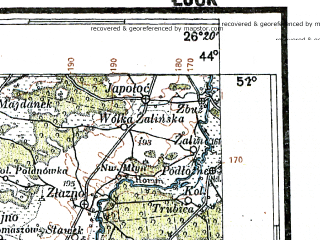 Reduced fragment of topographic map pl--wig--300k--77--(1928)--N051-00_E024-20--N050-00_E026-20; towns and cities Rovno, Lutsk, Dubno, Zdolbunov, Kremenets