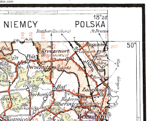 Reduced fragment of topographic map pl--wig--300k--83--(1937)--N050-00_E016-20--N049-00_E018-20; towns and cities Ostrava, Brno, Olomouc, Opava, Prerov