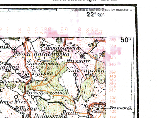 Reduced fragment of topographic map pl--wig--300k--85--(1939)--N050-00_E020-20--N049-00_E022-20; towns and cities Nowy Sacz, Gorlice, Jaslo, Krosno, Limanowa