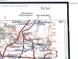 Reduced fragment of topographic map pl--wig--300k--86--(1937)--N050-00_E022-20--N049-00_E024-20; towns and cities L'vov, Krekhovichi, Przemysl, Drogobych, Stryy