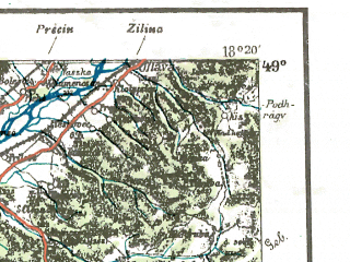 Reduced fragment of topographic map pl--wig--300k--93--(1939)--N049-00_E016-20--N048-00_E018-20 in area of Danau Strom; towns and cities Bratislava, Trencin, Nitra, Trnava, Piest'any