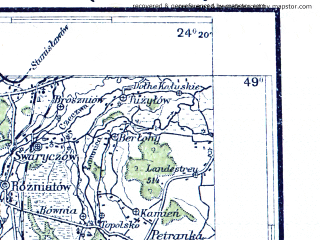 Reduced fragment of topographic map pl--wig--300k--96--(1936)--N049-00_E022-20--N048-00_E024-20; towns and cities Mukachevo, Beregovo, Vinogradov, Khust, Dolina