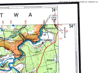 Reduced fragment of topographic map pl--wig--500k--n34-4--(1938)--N054-00_E021-00--N052-00_E024-00 in area of Jezioro Sniardwy; towns and cities Warsaw, Grodno, Bialystok, Bielsk Podlaski, Siedlce