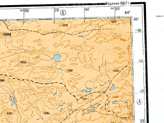 Reduced fragment of topographic map ru--gs--001m--i44--N036-00_E078-00--N032-00_E084-00 in area of Bangong Co, Lumajangdong Co, Gozha Co; towns and cities Kibar, Nyoma, Demchok