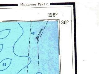 Reduced fragment of topographic map ru--gs--001m--i51--(1971)--N036-00_E120-00--N032-00_E126-00