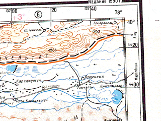 Reduced fragment of topographic map ru--gs--001m--j43--N040-00_E072-00--N036-00_E078-00 in area of Ozero Karakul, Ozero Sarezckoe; towns and cities Bexerik, Kyzylrabot, Elixku