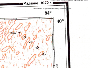 Reduced fragment of topographic map ru--gs--001m--j44--(1972)--N040-00_E078-00--N036-00_E084-00; towns and cities Oytograk, I-man-cha-fa-sa-ti-ko-miao, Kuo-pai