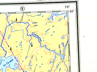 Reduced fragment of topographic map ru--gs--001m--l17--N048-00_W084-00--N044-00_W078-00 in area of Georgian Bay, Lac Nipissing, Lac Timiskaming; towns and cities Sudbury, North Bay, Peterborough, Barrie, Orillia