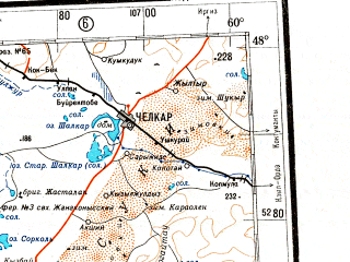 Reduced fragment of topographic map ru--gs--001m--l40--N048-00_E054-00--N044-00_E060-00 in area of K-l Kopasor, K-l Berdensar; towns and cities Chelkar, Kul'sary, Beyneu, Burankol, Terenkuduk