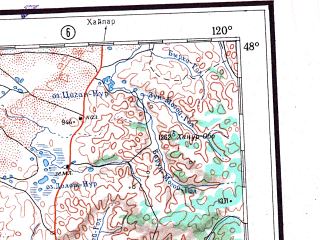 Reduced fragment of topographic map ru--gs--001m--l50--N048-00_E114-00--N044-00_E120-00 in area of Buir Nuur; towns and cities Hoiruhosho, Kun-she-an-ta-an-su-mu, Wen-kung-huo-lo-erh-su-mu