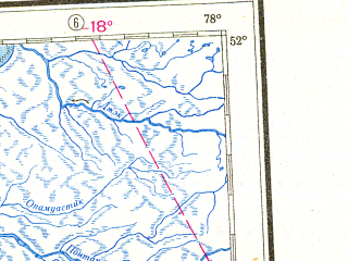 Reduced fragment of topographic map ru--gs--001m--m17--N052-00_W084-00--N048-00_W078-00 in area of Lake Abitibi, Rupert Bay, Missinaibi; towns and cities Timmins, Rouyn, Kapuskasing, Kirkland Lake, Iroquois Falls