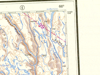 Reduced fragment of topographic map ru--gs--001m--m19--N052-00_W072-00--N048-00_W066-00 in area of Res Pipmouacan, Res. Outardes Quatre, Lac Manouane; towns and cities Chicoutimi, Jonquiere, La Baie, Sept Iles, Alma