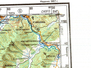 Reduced fragment of topographic map ru--gs--001m--m49--N052-00_E108-00--N048-00_E114-00; towns and cities Petrovsk-zabaykal'skiy, Onokhoy, Khilok, Darasun, Aksha