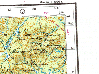 Reduced fragment of topographic map ru--gs--001m--m51--N052-00_E120-00--N048-00_E126-00 in area of Nen Jiang; towns and cities Nan-chi-ling, Xiangyang, Lianxing