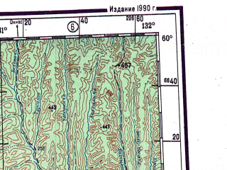 Reduced fragment of topographic map ru--gs--001m--o52--N060-00_E126-00--N056-00_E132-00 in area of Ulahan-siligile; towns and cities Chagda, Tommot, Kankunskiy, Algama, Katalakh