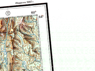 Reduced fragment of topographic map ru--gs--001m--p39_40--N064-00_E048-00--N060-00_E060-00 in area of Vycegda, Ilyc; towns and cities Syktyvkar, Ukhta, Sosnogorsk, Severoural'sk, Mikun'