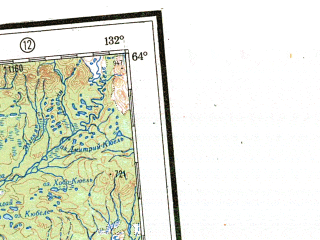 Reduced fragment of topographic map ru--gs--001m--p51_52--N064-00_E120-00--N060-00_E132-00 in area of Ozero Nidili; towns and cities Yakutsk, Olekminsk, Vilyusk, Pokrovsk, Sangar