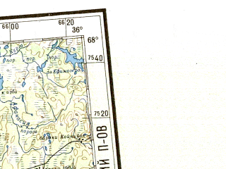 Reduced fragment of topographic map ru--gs--001m--q35_36--N068-00_E024-00--N064-00_E036-00 in area of Kandalaksskaja Guba, Tonozero, Oulujarvi; towns and cities Oulu, Monchegorsk, Apatity, Kajaani, Kandalaksha