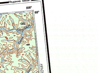 Reduced fragment of topographic map ru--gs--001m--q47_48--N068-00_E096-00--N064-00_E108-00 in area of Hakoma; towns and cities Tura, Ekonda, Murukta, Nidym