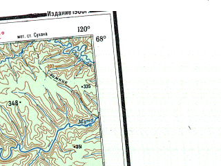 Reduced fragment of topographic map ru--gs--001m--q49_50--N068-00_E108-00--N064-00_E120-00 in area of Martha, Morkoka; towns and cities Oldongdo, Onkuchakh, Amysakh