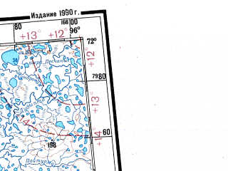 Reduced fragment of topographic map ru--gs--001m--r45_46--N072-00_E084-00--N068-00_E096-00 in area of Ozero Hantajskoe, Ozero P'asino, Ozero Keta; towns and cities Noril'sk, Talnakh, Dudinka, Pesok, Chernaya