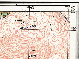 Reduced fragment of topographic map ru--gs--025k--k42-058-3-4--N042-25_E070-37-30--N042-20_E070-45-00