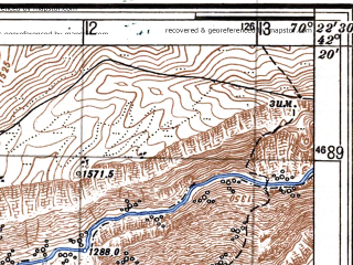 Reduced fragment of topographic map ru--gs--025k--k42-069-2-1--N042-20_E070-15-00--N042-15_E070-22-30
