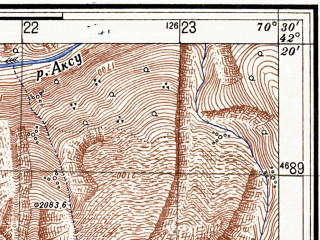 Reduced fragment of topographic map ru--gs--025k--k42-069-2-2--N042-20_E070-22-30--N042-15_E070-30-00; towns and cities Sovetskoye