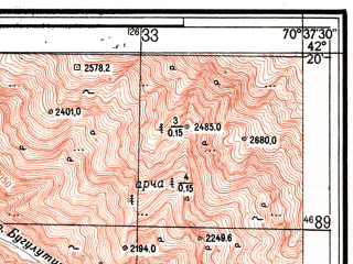 Reduced fragment of topographic map ru--gs--025k--k42-070-1-1--N042-20_E070-30-00--N042-15_E070-37-30