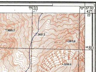 Reduced fragment of topographic map ru--gs--025k--k42-070-1-3--N042-15_E070-30-00--N042-10_E070-37-30