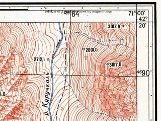 Reduced fragment of topographic map ru--gs--025k--k42-070-2-2--N042-20_E070-52-30--N042-15_E071-00-00