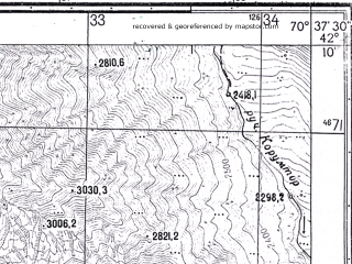 Reduced fragment of topographic map ru--gs--025k--k42-070-3-1--N042-10_E070-30-00--N042-05_E070-37-30