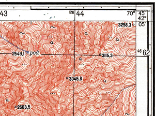Reduced fragment of topographic map ru--gs--025k--k42-070-3-4--N042-05_E070-37-30--N042-00_E070-45-00
